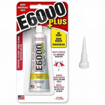 E6000 Plus Craft Glue and Snip Tip Fabric,Wood,Glass,Gems,Beads Adhesive(26.6ml)